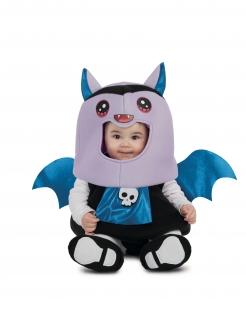 Niedliches Fledermaus-Kostüm für Babys Halloweenkostüm lila-blau-schwarz