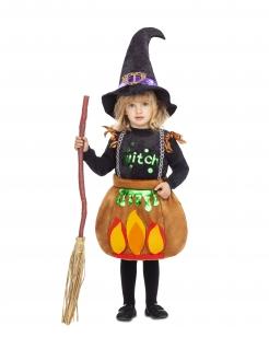 Hexe im Kessel Niedliches Hexenkostüm für Mädchen schwarz-bunt