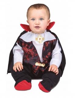 Kleiner Vampir-Graf Halloweenkostüm für Babys schwarz-rot-weiss