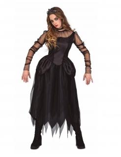 Gothic-Prinzessin-Kostüm für Damen Halloween-Kostüm schwarz