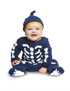 Skelett-Babykostüm Halloween-Kostüm blau-weiss