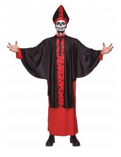 Untoter Kardinal Skelett-Kostüm für Halloween schwarz-rot