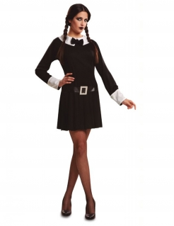 Dunkles Gothic-Mädchen Damenkostüm Halloweenkostüm schwarz-weiss