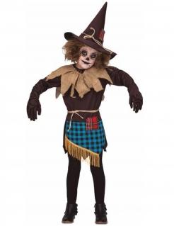Vogelscheuchen-Kostüm für Mädchen Halloween-Kinderkostüm braun-blau-beige