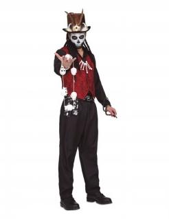 Voodoo-Kostüm für Herren Voodoo-Priester Halloween-Kostüm rot-schwarz