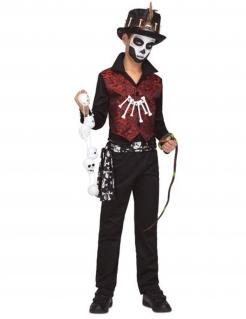 Voodoo-Jungenkostüm Halloween-Kostüm schwarz-rot