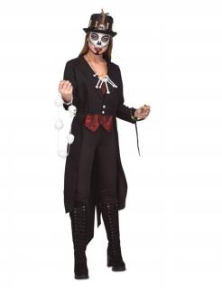 Voodoo-Hexe Damenkostüm Halloweenkostüm schwarz-rot