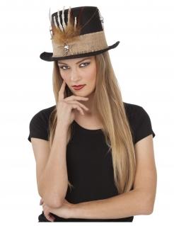 Voodoo-Zylinder Magier-Hut schwarz-braun