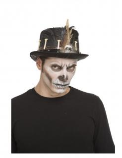 Voodoo-Hut flacher Zylinder Halloween-Accessoire schwarz-braun 59 cm