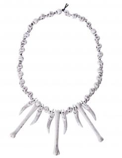 Voodoo-Kette mit Knochen Halloween-Halskette weiss 64cm