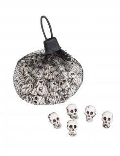 Säckchen mit Totenköpfen Halloween-Deko 50 Stück weiss-schwarz 11x7x7 cm