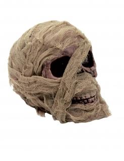 Mumifizierter Totenkopf Halloween-Deko 20x16 cm braun