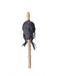 Halloween-Zepter mit aufgespiesstem Kopf Voodoo-Zepter beige-braun 50cm