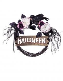 Halloween Türkranz Halloween-Deko schwarz-weiß-rot 34 cm