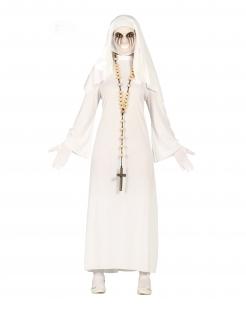 Geister-Nonnen-Kostüm für Damen Halloween-Kostüm weiss