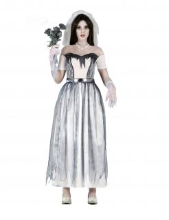 Verstorbene Braut Geister-Braut-Kostüm für Damen weiss-grau