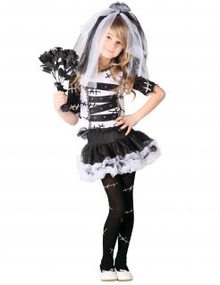 Dunkle Horrorbraut-Mädchenkostüm Halloween-Kostüm schwarz-weiss
