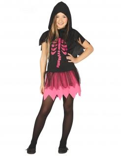 Skelett-Kostüm für Mädchen Halloween-Kostüm schwarz-pink