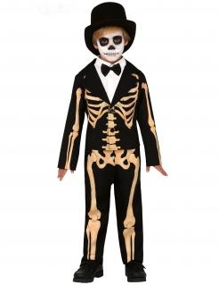 Skelett-Kostüm für Jungen Halloween-Kostüm schwarz-orange
