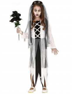 Geister-Brautkostüm für Mädchen Halloween-Kostüm schwarz-weiss
