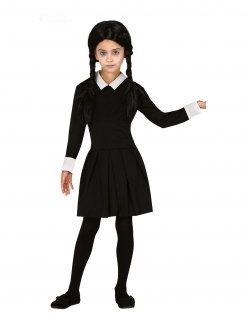 Gothic-Kind Kostüm für Mädchen Halloween-Kostüm schwarz-weiss
