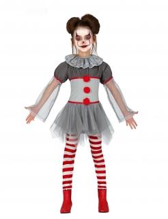 Halloween-Clown-Kostüm für Mädchen rot-grau-weiß