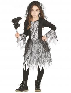 Gothic-Brautkostüm für Mädchen mit Spitze Halloweenkostüm schwarz-weiss