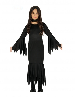 Dunkles Halloween-Kleid für Mädchen Hexen-Kostüm schwarz