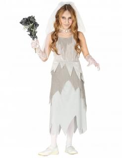 Junge Geisterbraut Mädchenkostüm Halloween-Kostüm weiss-grau