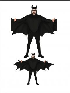 Fledermaus-Kostüm für Herren Halloween-Kostüm schwarz