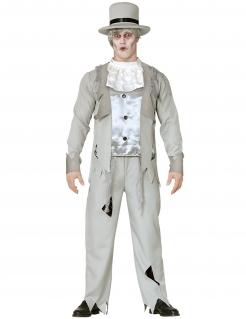 Geister-Bräutigam-Kostüm für Halloween grau-weiss