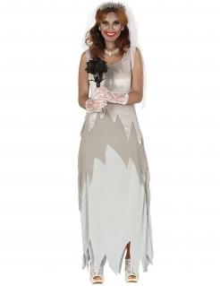 Geister-Braut Damenkostüm Halloween-Kostüm grau-weiss