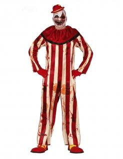 Horror-Clown-Kostüm für Herren Halloween-Kostüm rot-beige