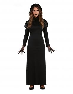 Gothic-Braut-Kostüm für Damen Halloween-Kostüm schwarz