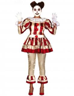 Gruseliges Clown-Kostüm für Damen Halloweenkostüm rot-beige