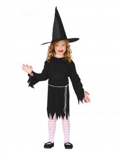 Hexen-Kostüm für Mädchen mit Hut Halloween-Kostüm schwarz