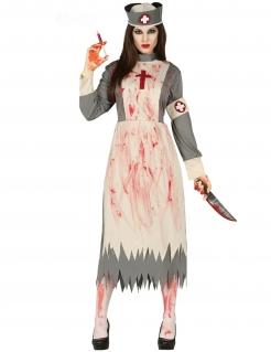 Zombie-Krankenschwesterkostüm Retro Halloween-Kostüm weiss-grau-rot