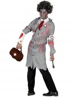 Zombie-Doktor Retro-Kostüm für Herren Halloween-Kostüm grau-weiss-rot