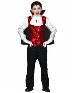 Vampirgraf-Kostüm für Jungen Halloween-Kostüm schwarz-rot-weiss