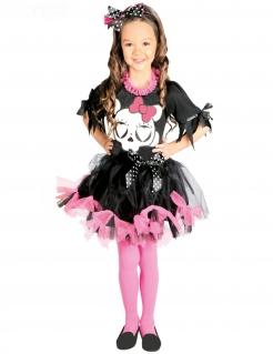 Süßes Totenkopf-Kostüm für Mädchen Halloween-Kostüm schwarz-rosa