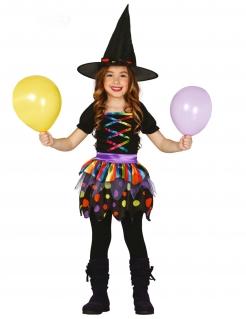 Farbenfrohes Hexen-Kostüm für Kinder mit gepunktetem Rock schwarz-bunt