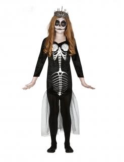 Skelett-Meerjungfrau-Kostüm für Kinder Halloween-Kostüm schwarz-weiss