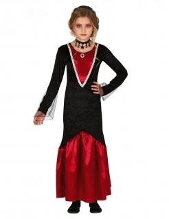 Schaurig-edles Vampir-Kostüm für Mädchen Halloween-Kostüm rot-schwarz