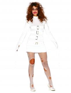 Psychiatrie-Patientin Damenkostüm Halloween-Kostüm weiss