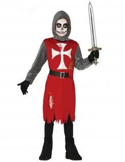 Zombie-Ritter-Kostüm für Jungen Halloweenkostüm rot-grau