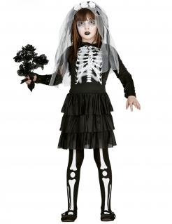 Skelett-Braut-Kostüm für Kinder Halloween-Mädchenkostüm schwarz-weiss