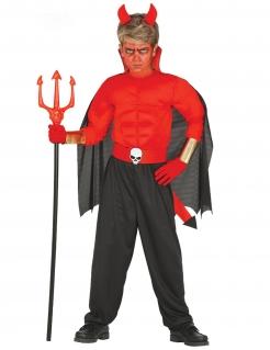 Muskulöses Teufel-Kostüm für Jungen Halloween-Kostüm rot-schwarz