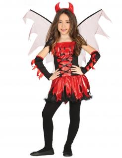 Teufel-Kostüm für Mädchen Halloween-Kostüm rot-schwarz