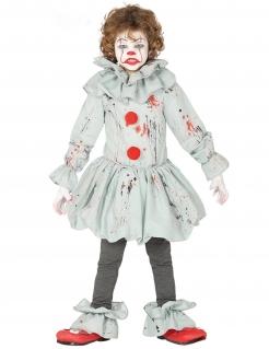 Blutiger-Clown-Kostüm für Kinder grau-rot