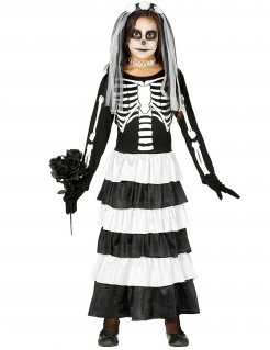 Skelett-Braut-Kostüm für Mädchen Halloween-Kinderkostüm